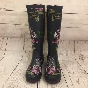 Joules Tall Welly Rain Boot Floral Pattern Sz 7
